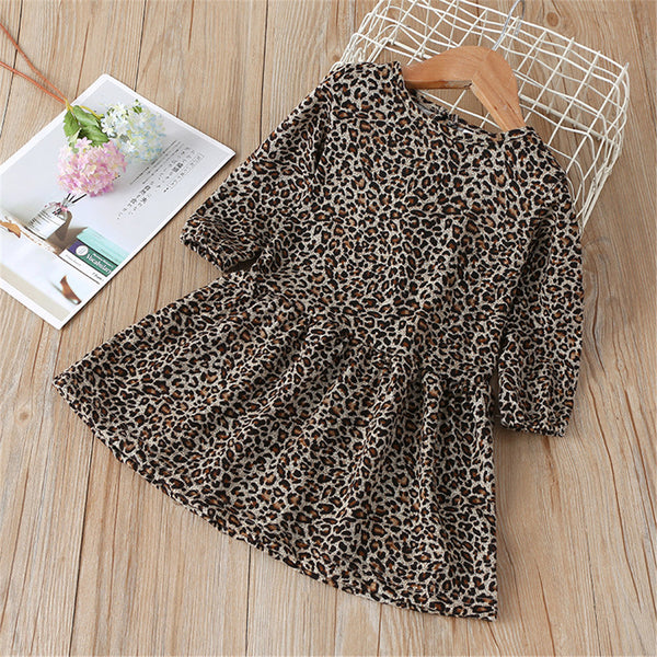 Girls Leopard Long Sleeve Crew Neck Dress