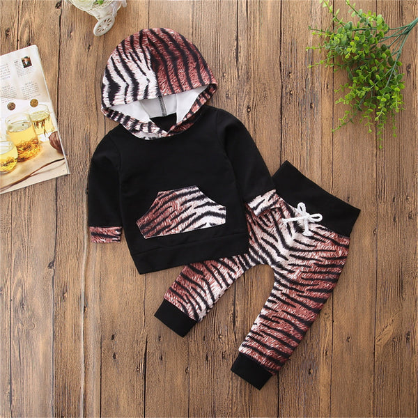 Baby Girls Leopard Long Sleeve Hooded Tops & Pants Christmas Baby Clothes
