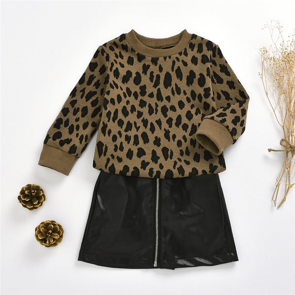 Girls Leopard Long Sleeve Jumper & PU Skirt Wholesale Childrens Clothing
