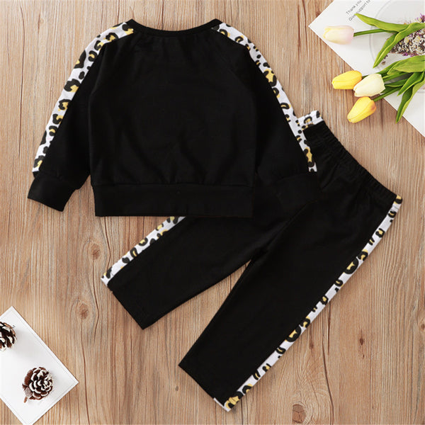 Baby Girls Leopard Long Sleeve Letter T-shirt & Pants Baby Girl Wholesale