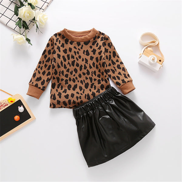 Girls Leopard Long Sleeve Pullover & PU Skirt Wholesale Girls Clothing