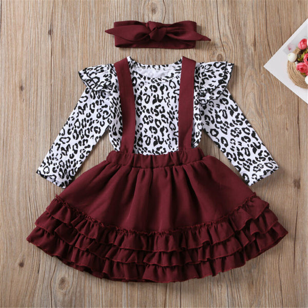 Baby Girls Leopard Long Sleeve Romper & Suspender Skirt Girl Wholesale