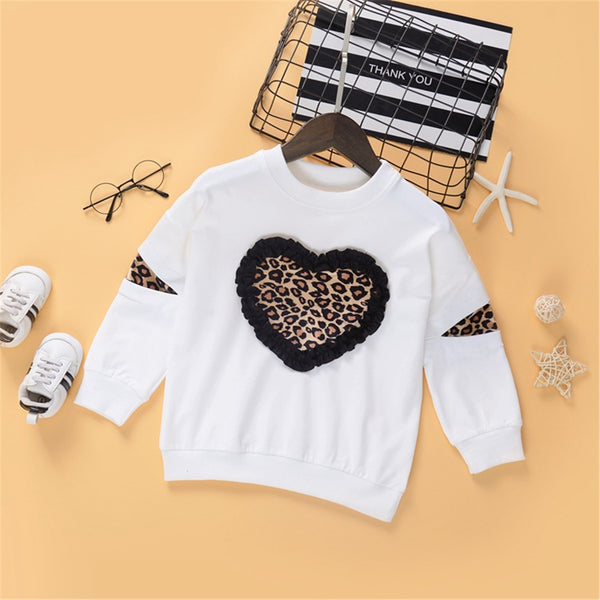 Toddler Girl Leopard Long Sleeve T-shirt Wholesale Little Girl Clothes