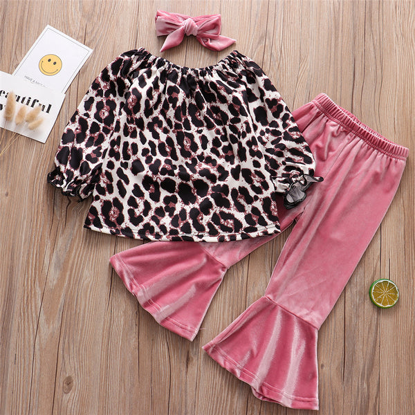 Girls Leopard Long Sleeve Top & Flared Pants & Headband Wholesale Girls Clothing