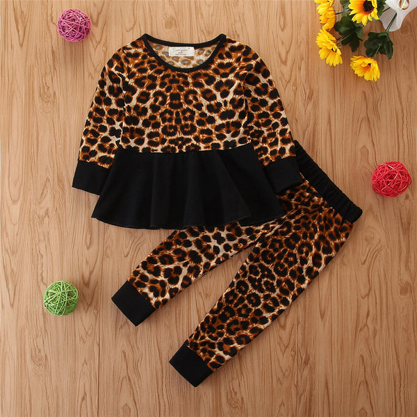Toddler Girls Leopard Long Sleeve Top & Pants Wholesale Girls Clothes