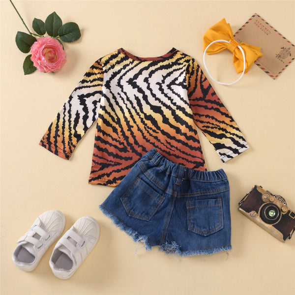 Toddler Girls Leopard Long Sleeve Top & Ripped Denim Shorts Wholesale