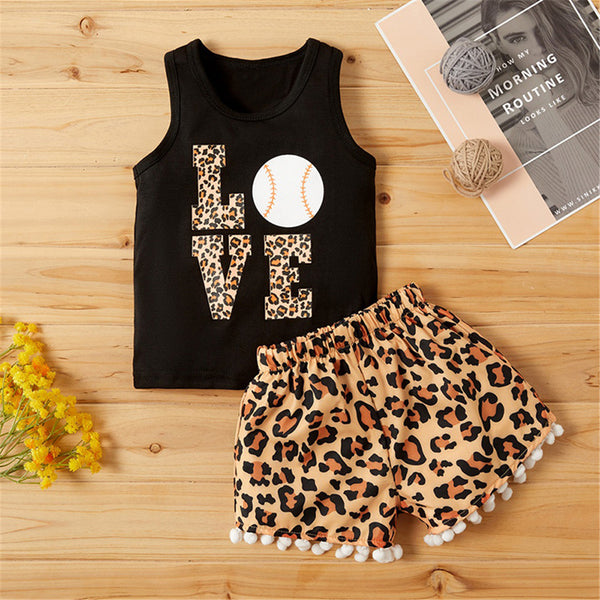 Baby Girls Leopard Love Printed Sleeveless Top & Shorts Baby Clothes Wholesale Bulk