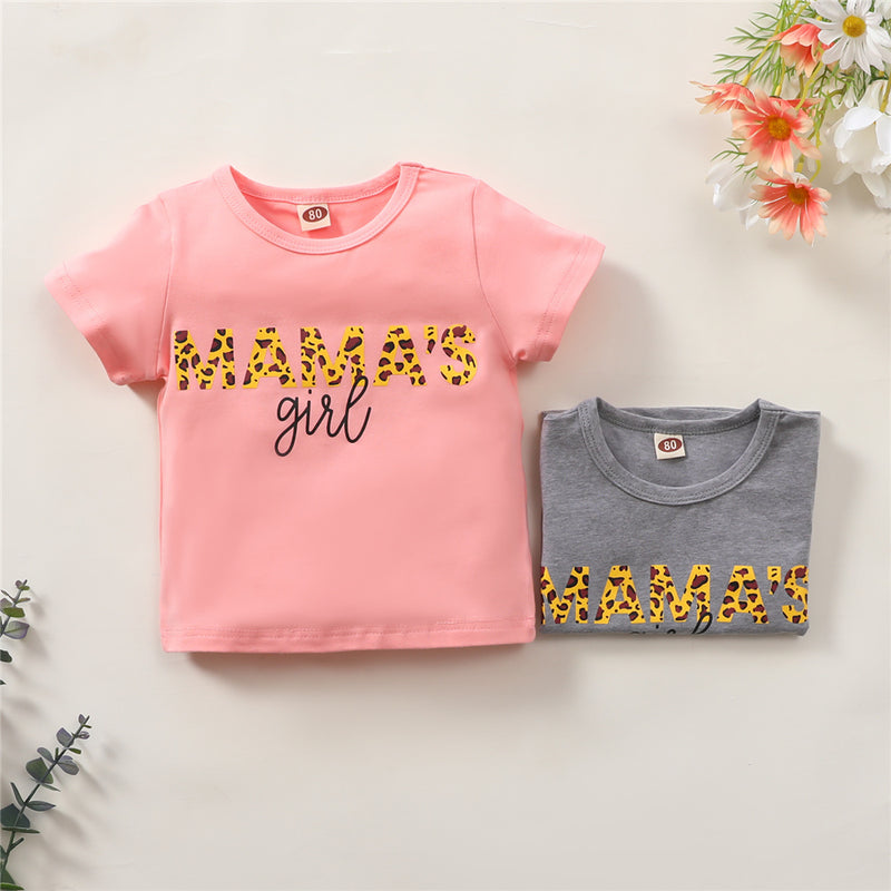 Girls Leopard Mama's Girl Printed Short Sleeve Top Wholesale Girls Clothing