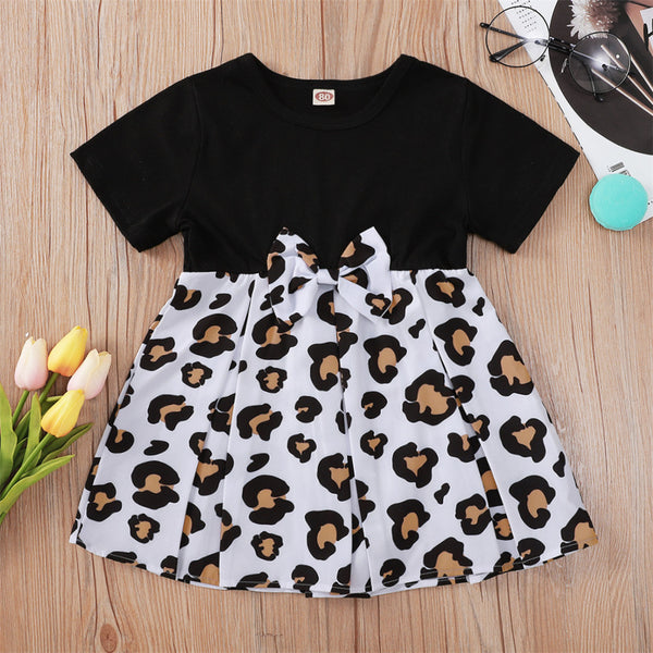 Baby Girls Leopard Plaid Splicing Bow Decor Short Sleeve Dress bulk baby clothes