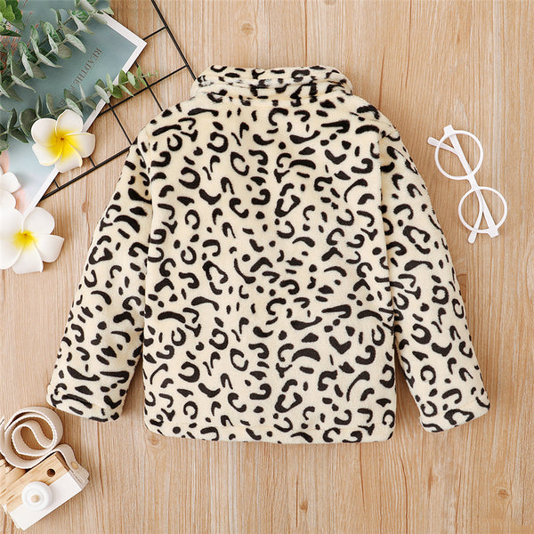 Girls Leopard Pocket Button Long Sleeve Jacket Girls Clothing Wholesale