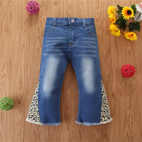 Girls Leopard Pocket Flared Jeans Casual Wholesale Girl Boutique Clothing
