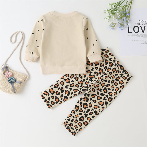 Baby Girls Leopard Polka Pot Print Top & Pants Boutique Baby Clothes Wholesale