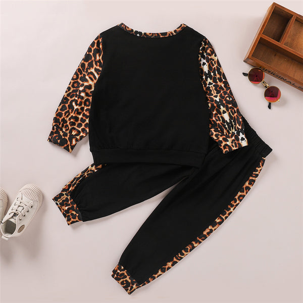 Girls Leopard Print Pockets Long Sleeve Top & Pants Kids Wholesale Clothing
