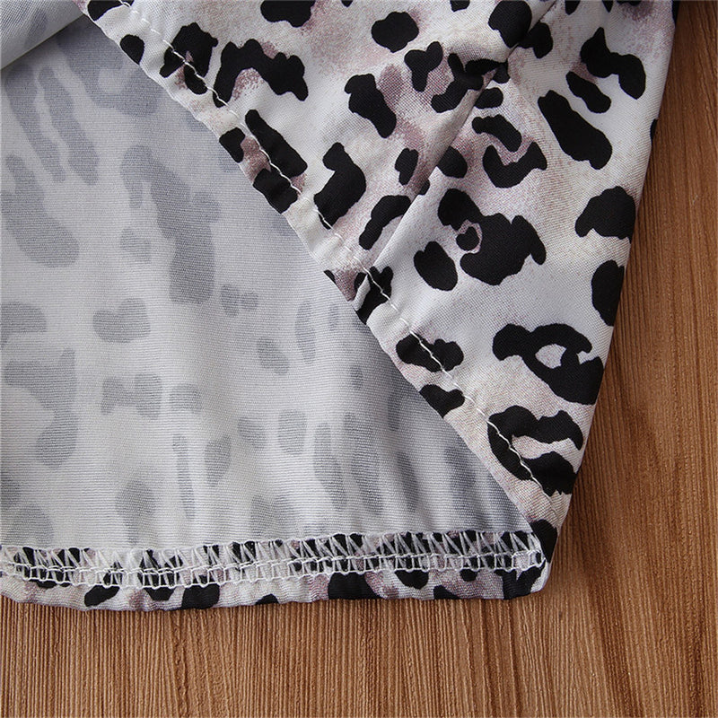 Girls Leopard Printed Button Long Sleeve Top Skirt Wholesale Daddy'S Girl Clothes