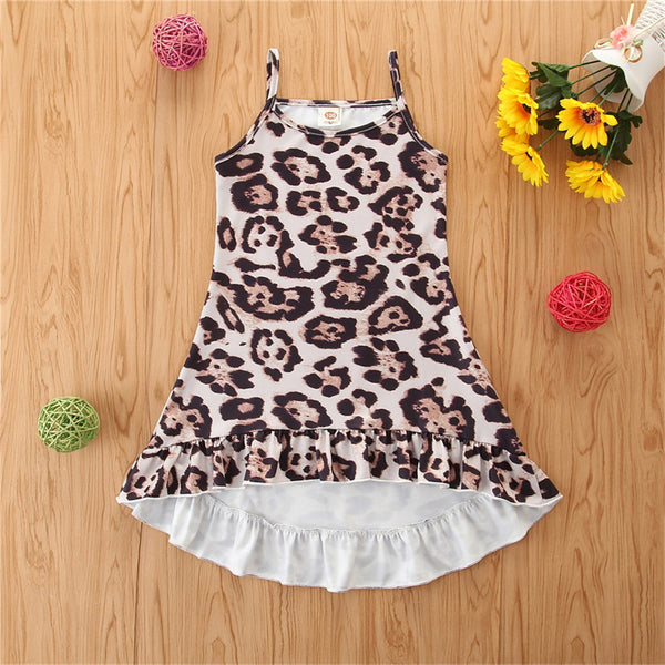 Girls Leopard Printed Casual Suspender Dress wholesale kids boutique clothing