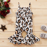 Baby Girls Leopard Printed Flared Suspender Jumpsuit wholesale childrens clothing