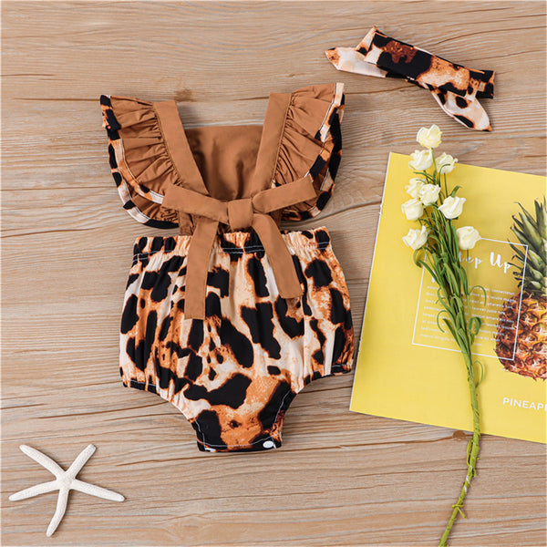 Baby Girls Leopard Printed Flying Sleeve Romper & Headband baby clothes wholesale distributors