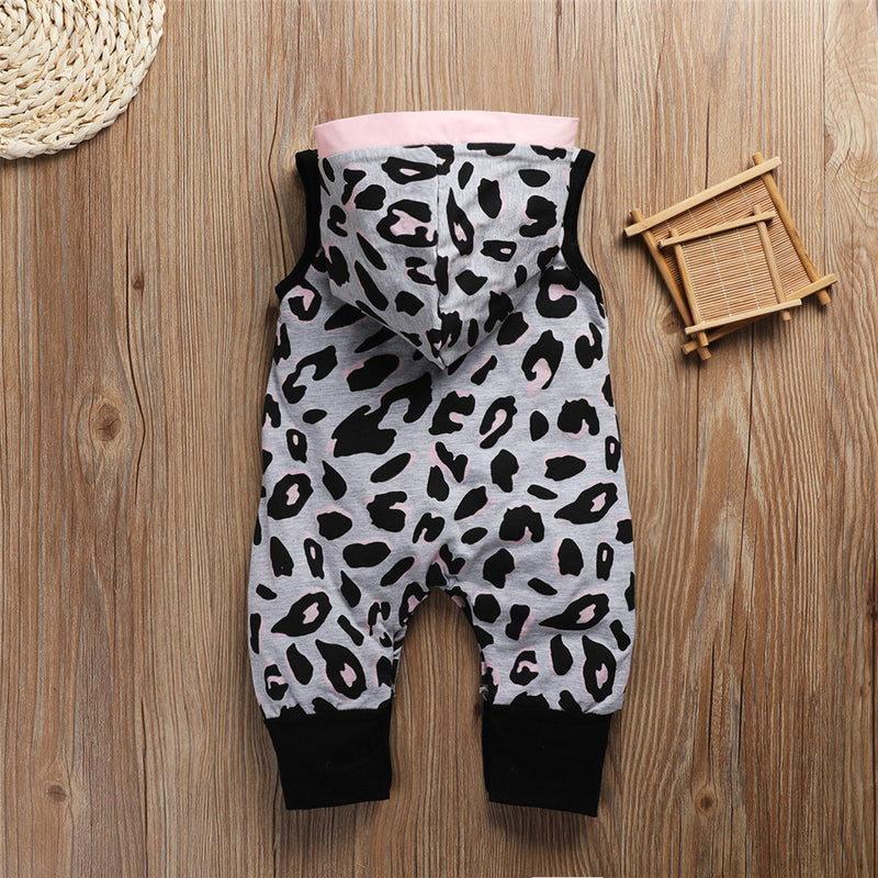 Baby Girls Leopard Printed Hooded Sleeveless Romper Wholesale Clothing Baby