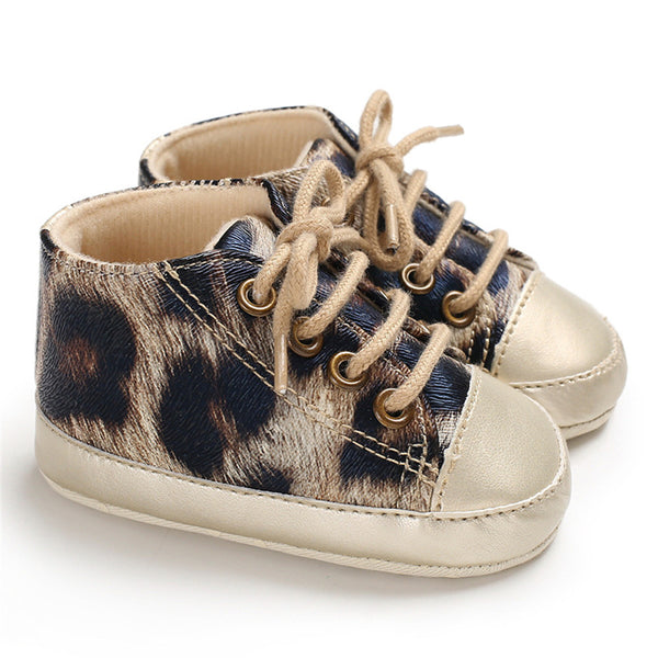 Baby Girls Leopard Printed Lace Up Roud Toe Sneakers