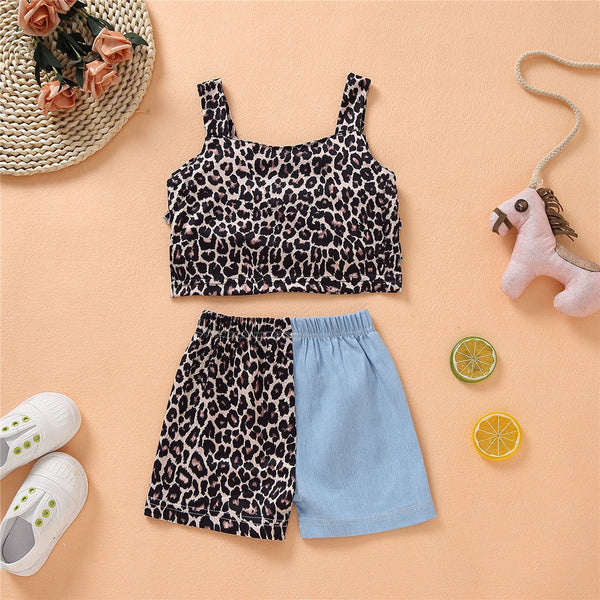 Girls Leopard Printed Layered Sling Top & Shorts children's wholesale boutique clothing
