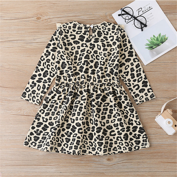 Girls Leopard Printed Long Sleeve Girls Wholesale Dresses
