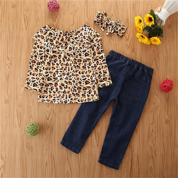 Girls Leopard Printed Long Sleeve Top & Jeans Wholesale Clothing For Children