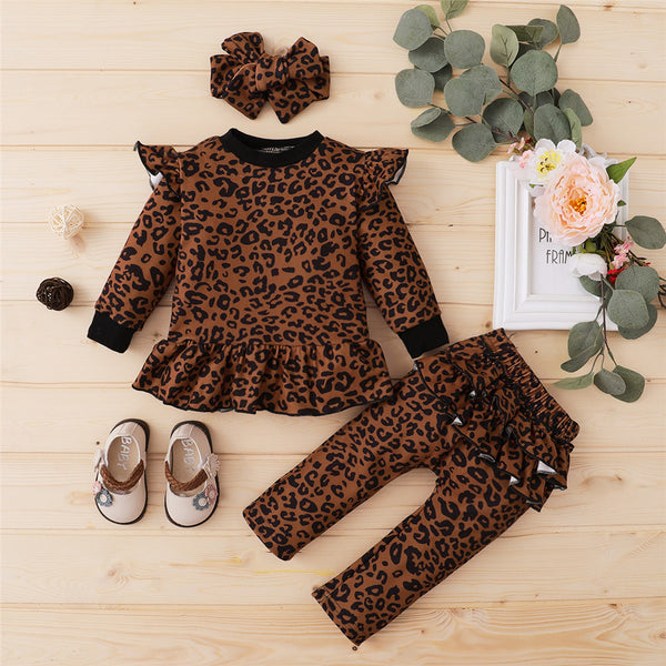 Baby Girls Leopard Printed Long Sleeve Top & Pants & Headband Baby Boutique Clothes Wholesale