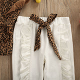 Girls Leopard Printed Long Sleeve Tops & Trousers & Headband