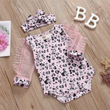 Baby Girls Leopard Printed Mesh Sleeve Romper & Headband Baby Outfits