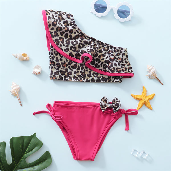 Girls Leopard Printed Oblique Shoulder Top & Shorts 2 Piece Swimsuit With Shorts