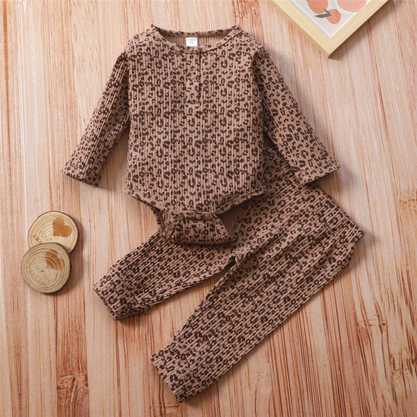 Baby Girls Leopard Printed Romper & Bottoms Baby Wholesale Suppliers