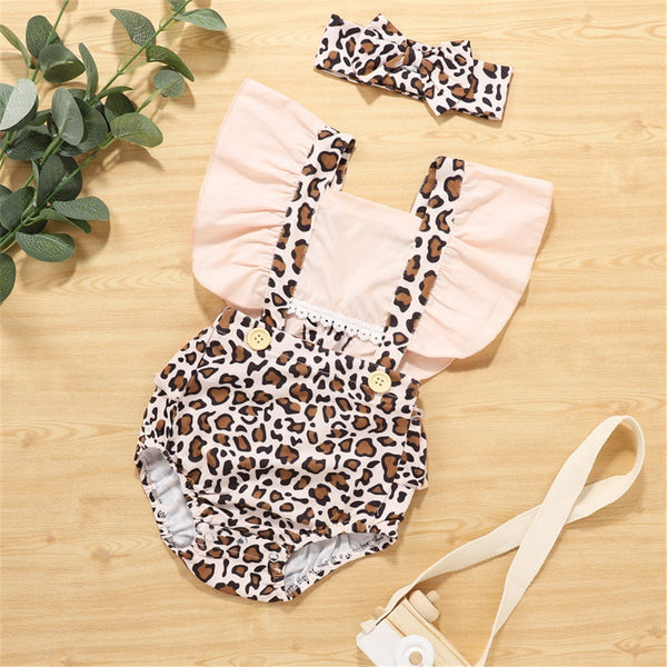 Baby Girls Leopard Printed Ruffled Romper & Headband Baby Boutique Clothing Wholesale