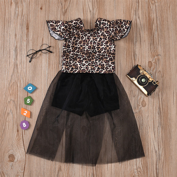 Girls Leopard Printed Short Sleeve Mesh Splicing Jumpsuit quality children's clothing wholesale