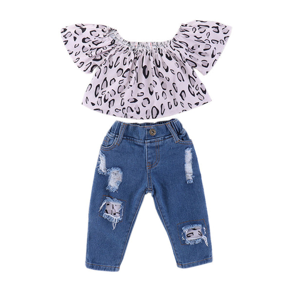 Girls Leopard Printed Short Sleeve Top & Ripped Jeans kids wholesale vendors