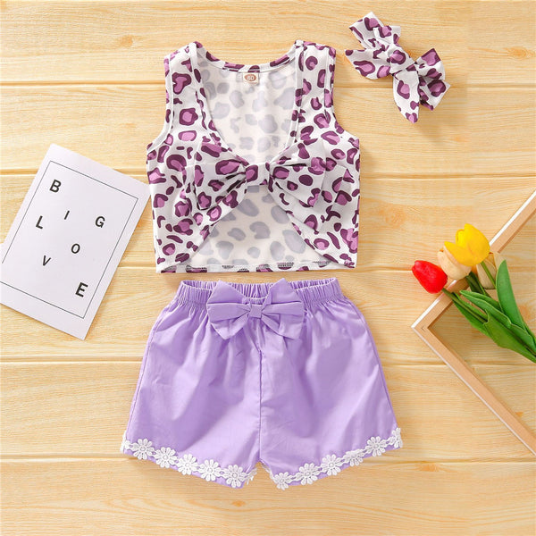 Girls Leopard Printed Sleeveless Cropped Top & Shorts & Headband wholesale kids boutique clothing