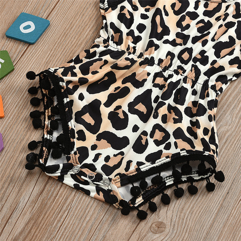 Baby Girls Leopard Printed Sleeveless Romper Buy Baby Clothes Wholesale