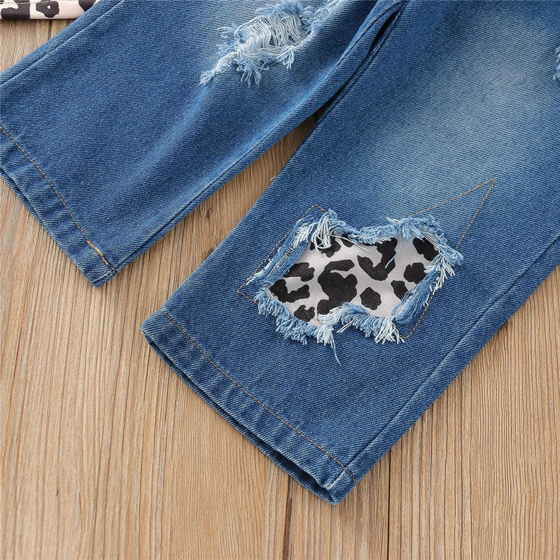 Girls Leopard Printed Sleeveless Top & Jeans kids wholesale clothing