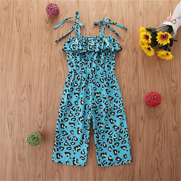 Girls Leopard Printed Sling Summer Jumpsuit Kids Clothing Suppliers