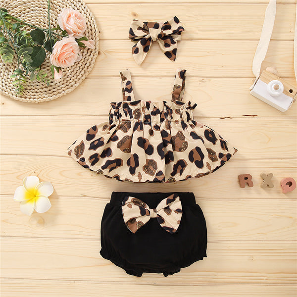 Baby Girls Leopard Printed Sling Top & Bow Shorts baby clothes wholesale usa