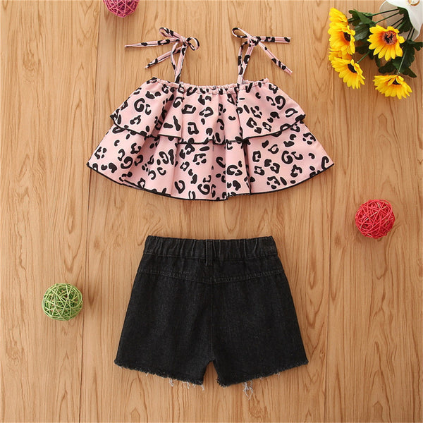 Girls Leopard Printed Sling Top & Denim Ripped Shorts wholesale children's boutique clothing suppliers usa