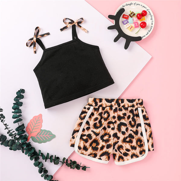 Girls Leopard Printed Sling Top & Shorts wholesale kids boutique clothing