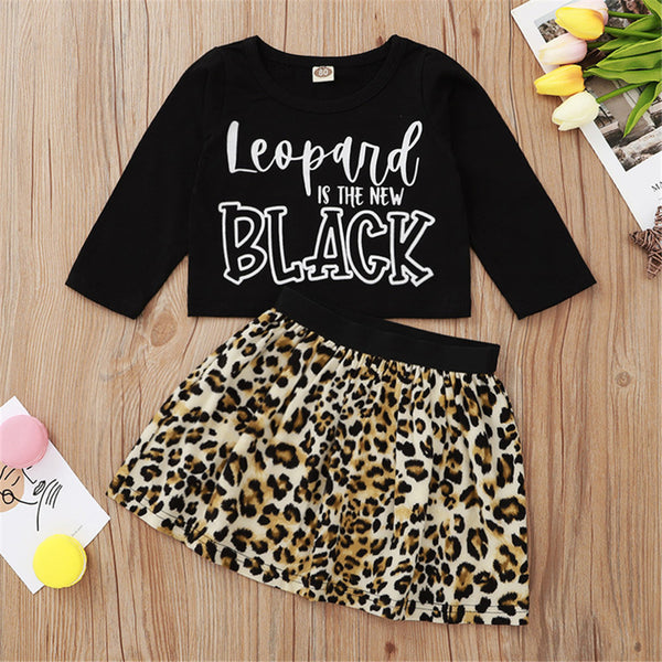 Baby Girls Leopard Printed T-shirt & Skirt Cheap Baby Boutique Clothes