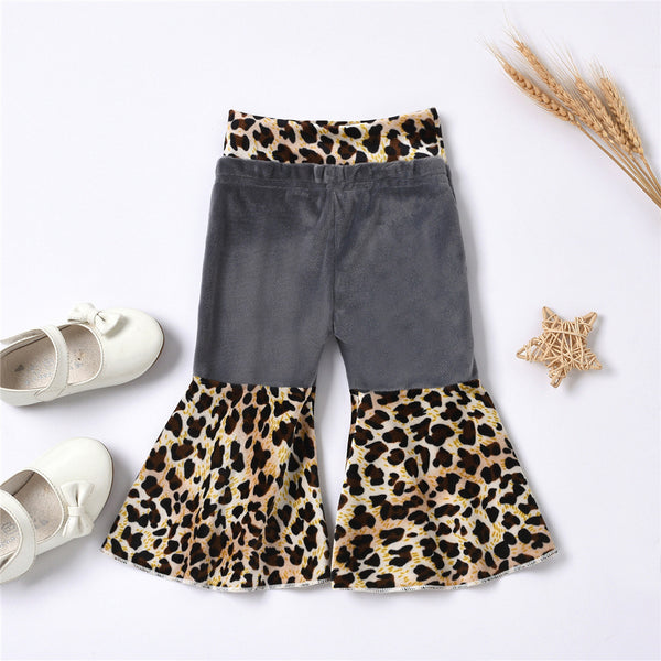 Baby Girls Leopard Printed Wide Leg Flared Trousers Wholesale Baby Clothes In Bulk
