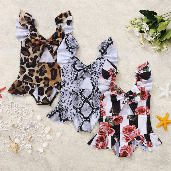 Girls Leopard Rose Printed Flutter Sleeve Swimwear Toddler One Piece Swimsuit