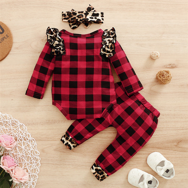Baby Girls Leopard Ruffled Plaid Long Sleeve Romper & Pants & Headband Wholesale Baby Clothes In Bulk