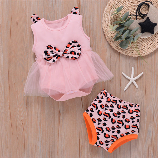 Baby Girls Leopard Sleeveless Bow Mesh Romper & Shorts baby wholesale