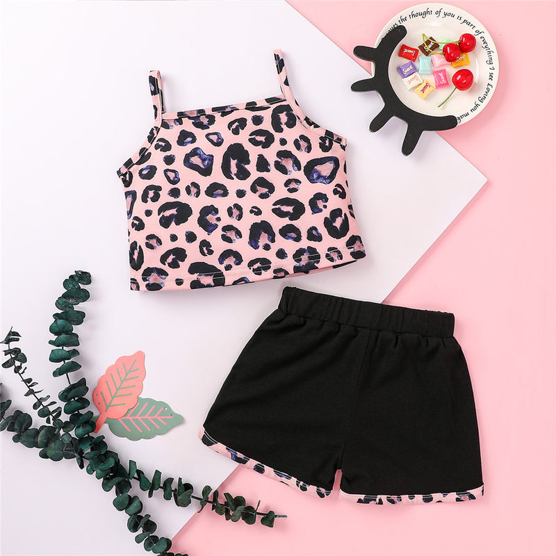 Girls Leopard Sling Top & Shorts kids wholesale clothing