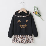 Girls Leopard Splicing Kitty Printed Long Sleeve Hooded Dress Kids Fashion Wholesale