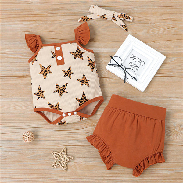 Baby Girls Leopard Star Printed Flying Sleeve Romper & Shorts & Headband baby clothes vendors