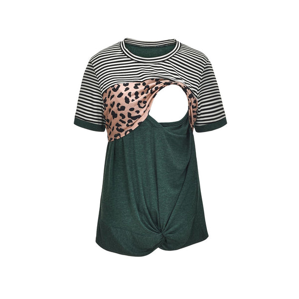 Maternity Leopard Striped Short Sleeve Nursing Top Wholesale Maternity Clothes